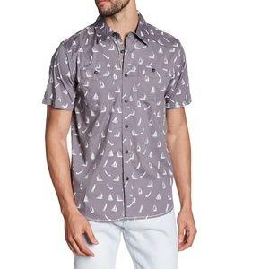 XRAY Sailboat Print Short Sleeve Slim Fit Shirt